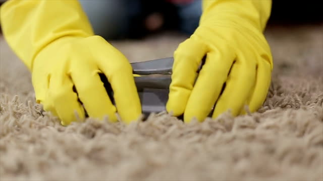 Woman cleaning a carpet Woman cleaning a carpet cleaning stock videos & royalty-free footage