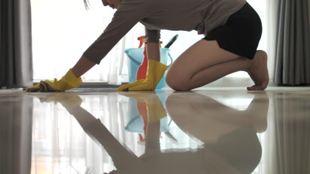 woman cleaning floor - stay at home parent stock videos & royalty-free footage