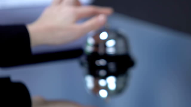woman client pushing reception bell and waiting for administrator of hotel - key ring stock videos & royalty-free footage