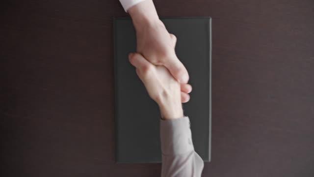 frau schließt eine datei mit einem vertrag und schüttelt die hand mit einem geschäftsmann - abmachung stock-videos und b-roll-filmmaterial