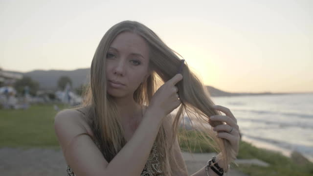Woman Combing Hair video