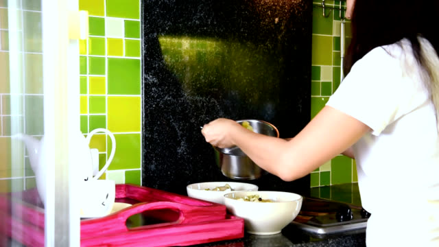 Woman cooking in modern kitchen / people healthy lifestyle concept Woman cooking & prepared a food in modern kitchen / people working & healthy lifestyle concept pantry stock videos & royalty-free footage