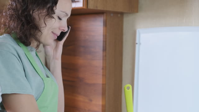woman cooks in the kitchen. - русского происхождения стоковые видео и кадры b-roll