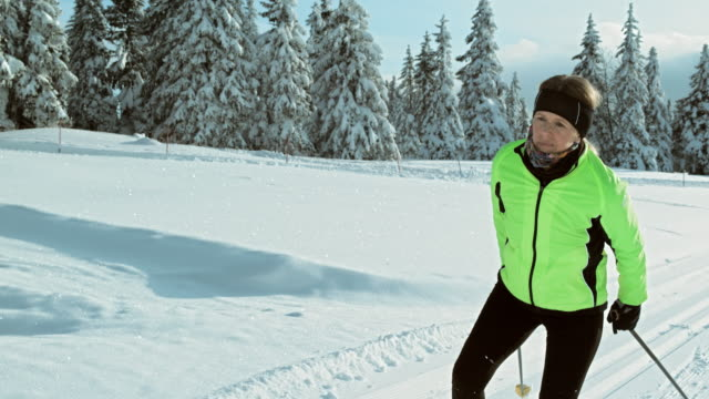 TS SLO MO woman cross country skiing in nature video