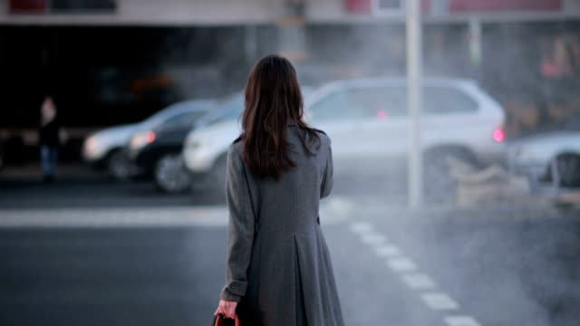 woman crossing the street at a pedestrian crossing video