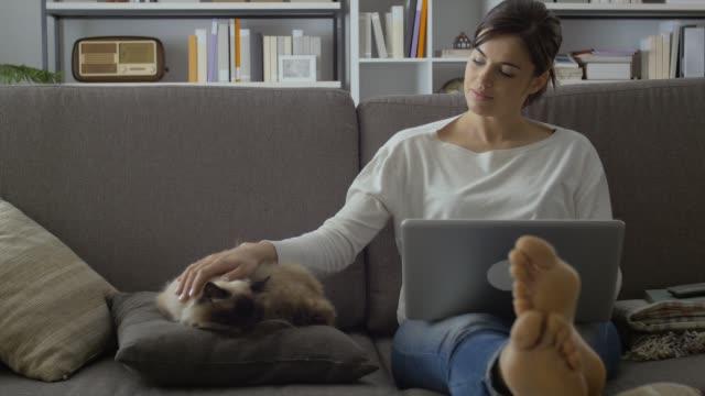 vidéos et rushes de femme caresser son chat à la maison - femme seule s'enlacer