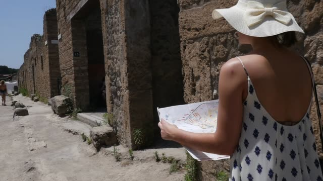 Woman Discovery Pompeii, Italy video