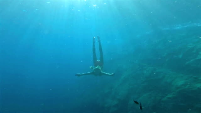 vídeos de stock, filmes e b-roll de mulher de mergulho submarino - natação