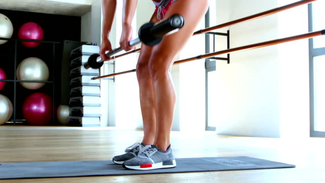 Woman doing workout in gym. Sport concept. Dolly shot video