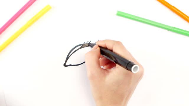 vídeos de stock e filmes b-roll de mulher desenhar um olho com caneta de ponta de feltro preto no livro branco, o intervalo de tempo - contacts