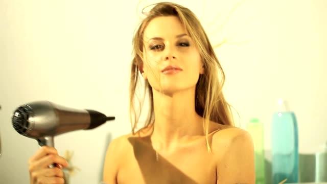 Woman Drying Hair video