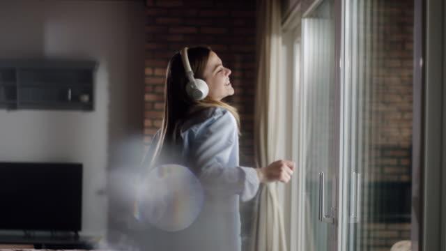 Woman enjoying her favorite music