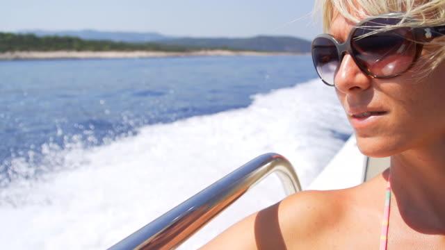 HD SUPER SLOW MO: Woman Enjoying The Sailing video
