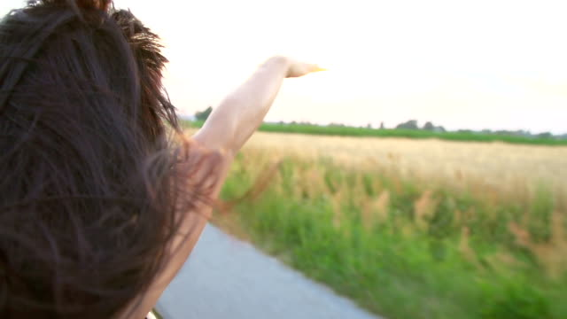 HD SUPER SLOW-MOTION: Woman Enjoying The Wind In Convertible HD1080p: SUPER SLOW-MOTION shot of a young woman waving with her arm while she driving in a convertible car. Rear view. long hair stock videos & royalty-free footage