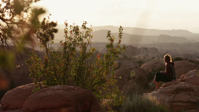 Woman enjoys nature in the Southwest USA, Moab