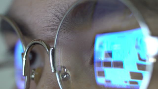Woman eye looking computer video