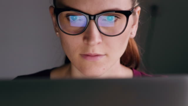 Woman eyes looking in the monitor video