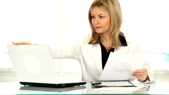 Woman finishing work. video