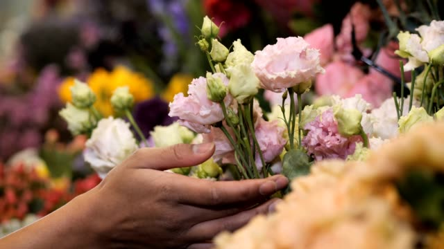 Woman florist hand gently touching flowers in shop