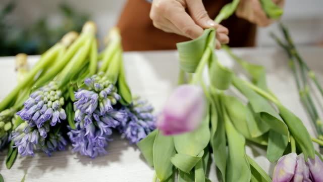 vídeos de stock e filmes b-roll de woman florist make a beautiful bouquet of flowers - trabalho de design