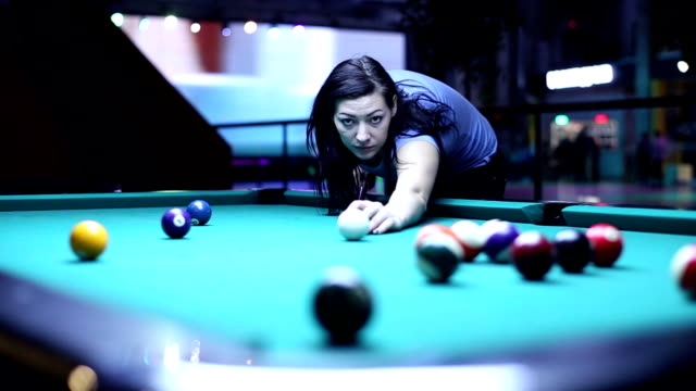 Woman Gets The Ball In The Pocket Billiards Woman Gets The Ball In The Pocket Billiards hot pockets stock videos & royalty-free footage