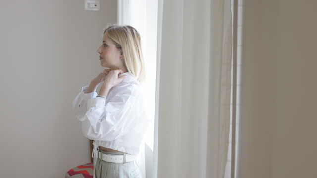 Woman getting ready in the morning video