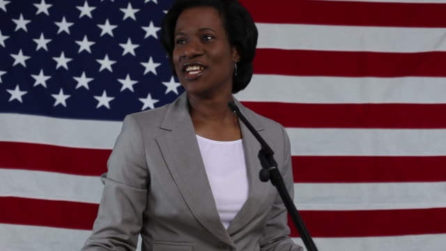 Woman gives political speech video