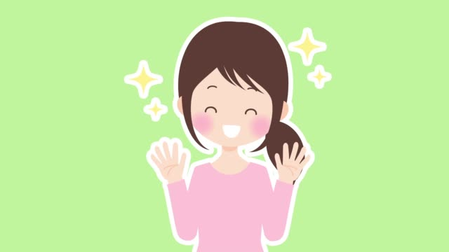 a woman glad and raises his hands - kawaii video stock e b–roll