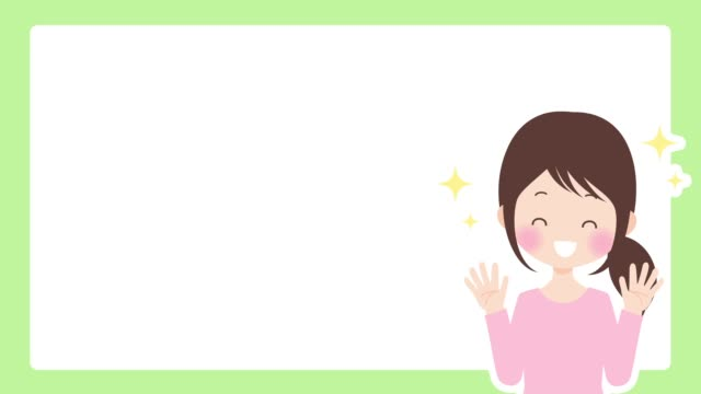 a woman glad and raises his hands with copy space - kawaii video stock e b–roll