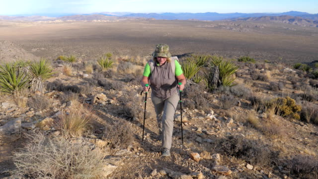Woman Goes Up To The Hill Along The Trail In The Mojave Desert, Front View video