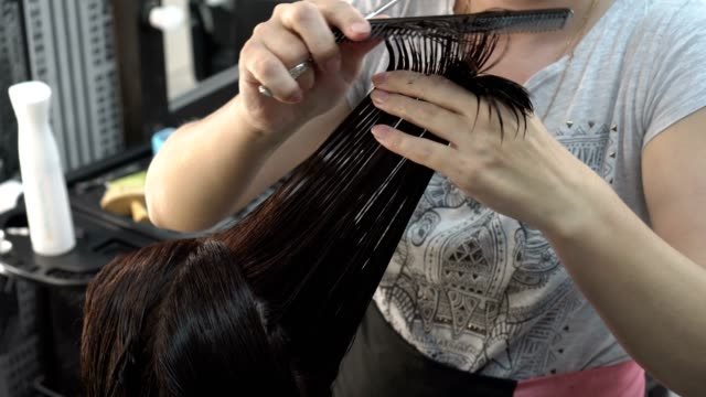 A woman hairdresser combs and cuts her hair with scissors girl brunette in the Barber shop.