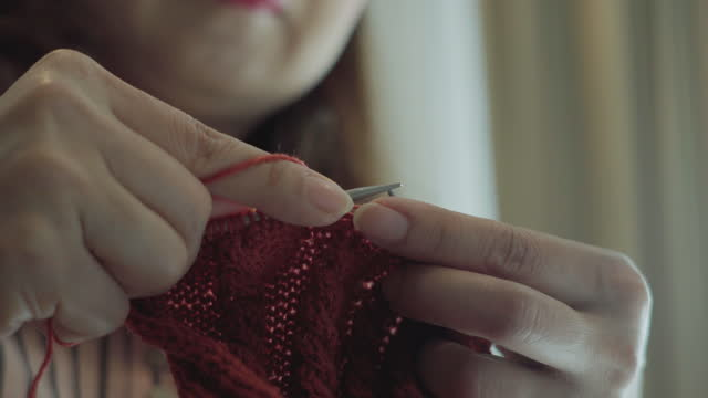 Woman hand Knitting.