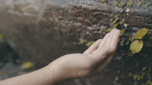 woman hand receive the water drifting from rock in nature - ricevere video stock e b–roll
