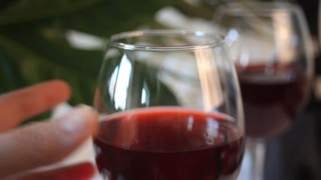 frau hand nehmen sie ein glas mit rotweinroten wein. flasche auf dem hintergrund. romantisches dinner-konzept - cabernet sauvignon traube stock-videos und b-roll-filmmaterial