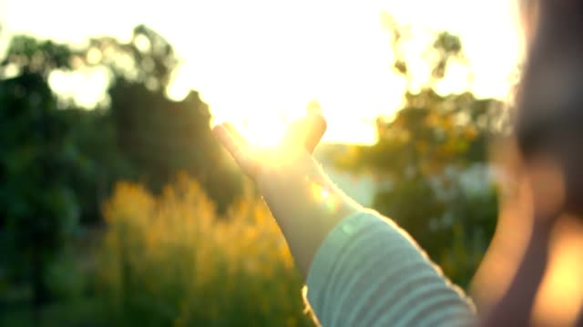 woman hand touching sun light - god stock videos & royalty-free footage