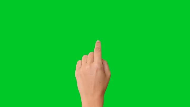 4K woman hand touchscreen gestures on green screen