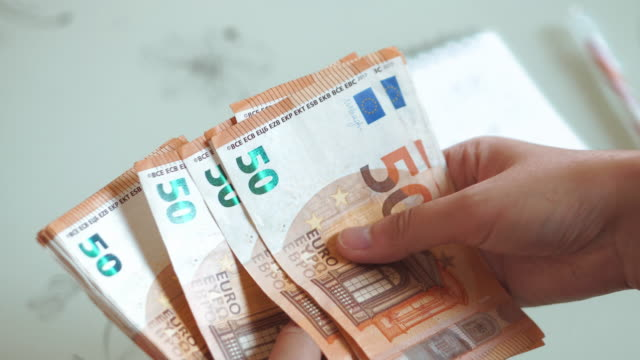 Woman Hands counting Euro banknotes money and calculator cost.