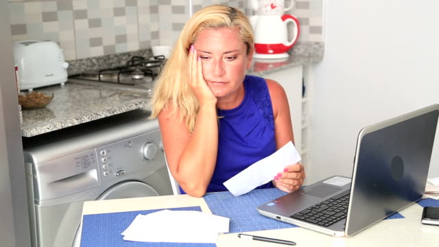 Woman having financial troubles video