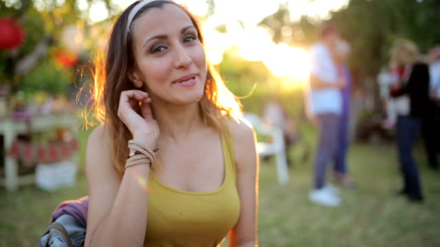 Woman having fun at the party video