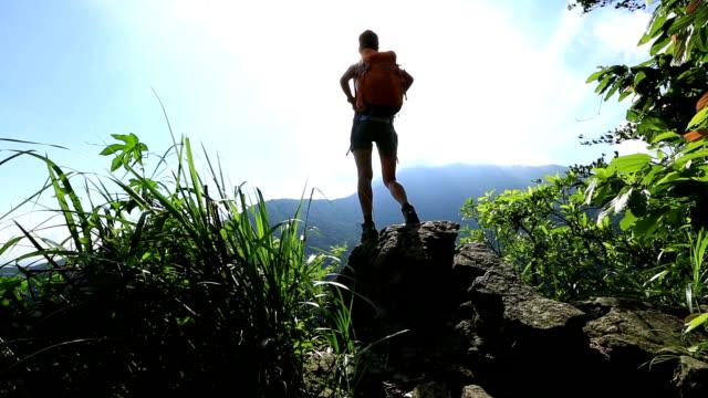 женщина hiker, наслаждаясь видом на пик cliff - турист с рюкзаком стоковые видео и кадры b-roll