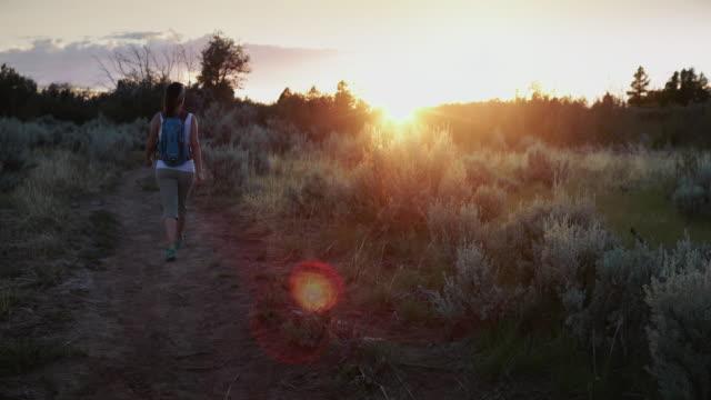 vidéos et rushes de femme de randonnée dans les sentiers de la zion national park, etats-unis - paysage extrême