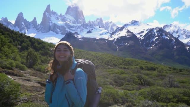 Woman hiking near  Fitz Roy mountain in Patagonia
