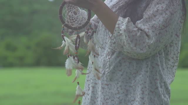 Woman Holding Dream Catcher video