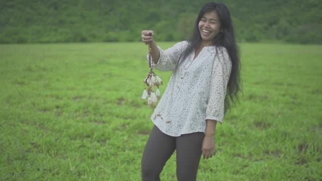 Woman Holding Dream Catcher video