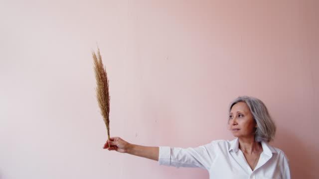 kvinna som håller torrt gräs - mature women studio grey hair bildbanksvideor och videomaterial från bakom kulisserna