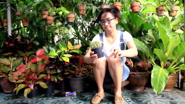 HD: woman holding pot cactus.