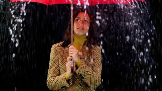 Woman Holding Red Umbrella Rain Bad Weather