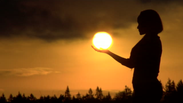 HD Woman Holding Sun video