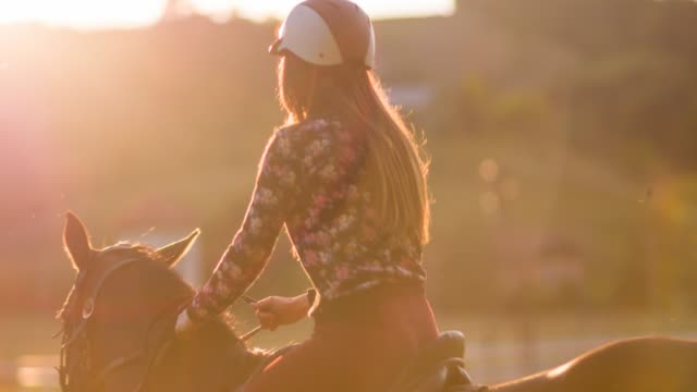 Woman horseback riding on a meadow video