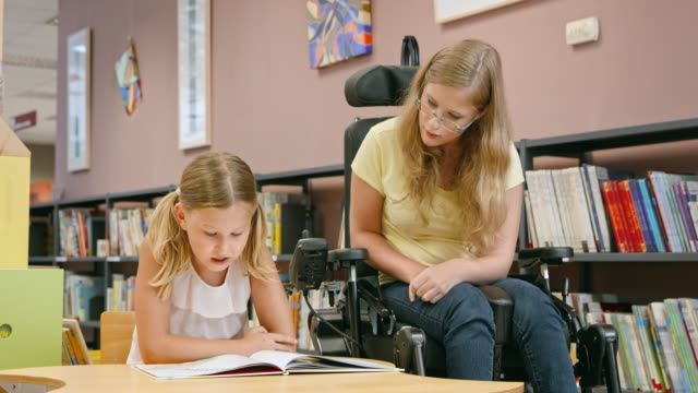 DS Woman in a wheelchair listening to a girl reading in the library